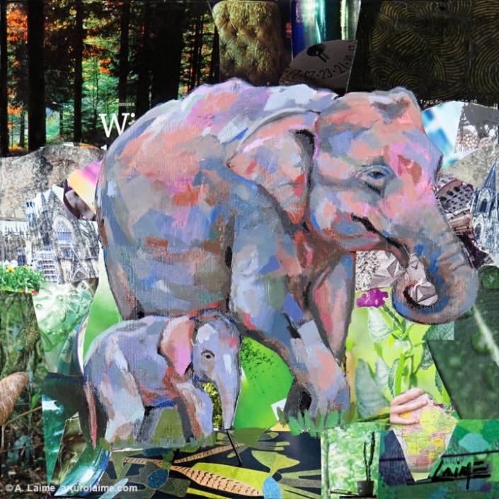 Elefanten von Sumatra Gemälde