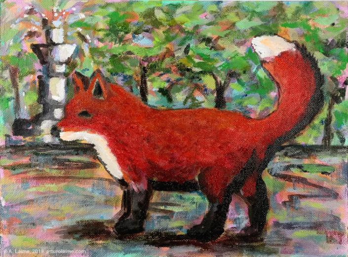 Fox & fountain Gemälde