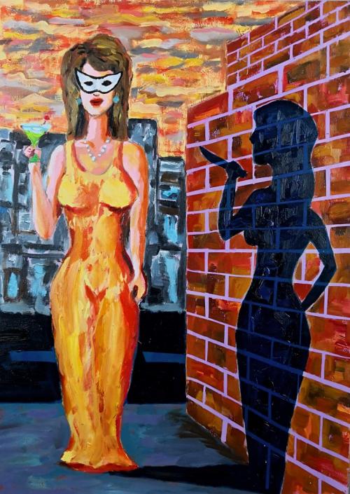 Frau mit Maske Öl auf Malplatte
