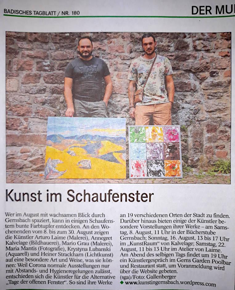 Arturo Laime im Badisches Tagblatt 07082020