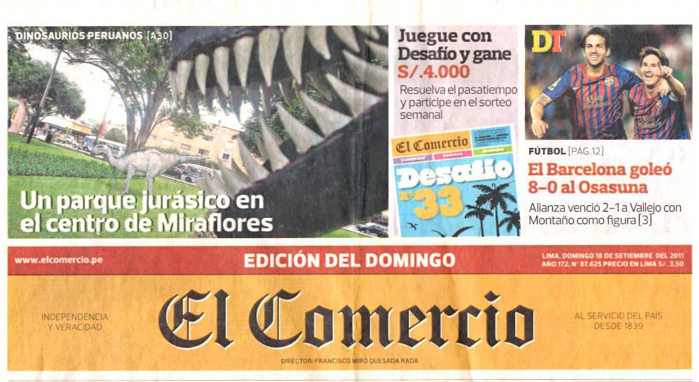 Arturo Laime im El Comercio cover 18092011