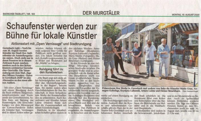 Arturo Laime im Badisches Tagblatt 10082020