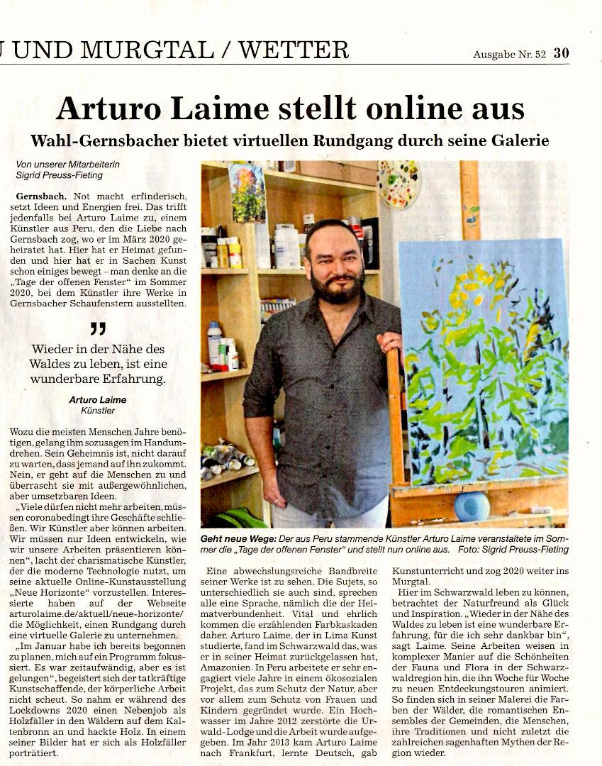 Arturo Laime in Badische Neueste Nachrichten 03 März 2021